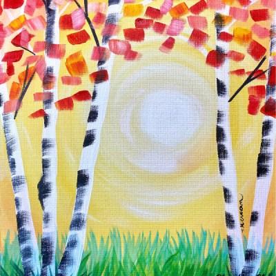Easy Tree Painting Aspen Sunset (Very Beginner Friendly!)