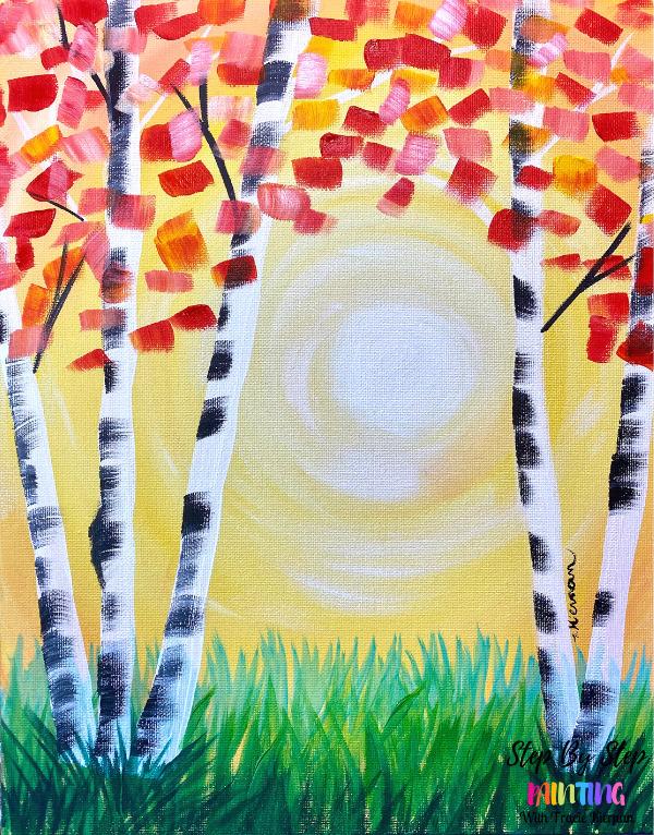 Sunset Aspen Trees Super BASIC Beginner Painting