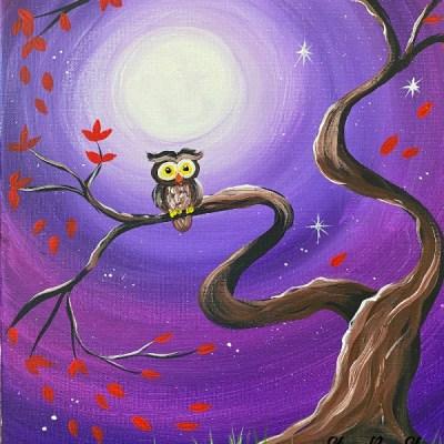 """Fall Night Whimsy Owl"" Acrylic Painting Tutorial"
