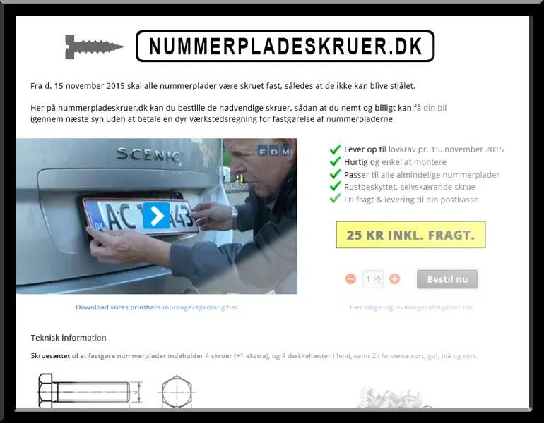 nummerpladeskruer - wordpress/woocommerce
