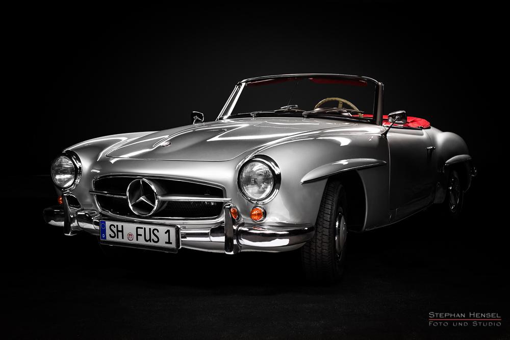 Mercedes-Benz 190 SL, Studioaufnahme, Traumwagenbilder.de, Ansicht von vorn links, Automobilfotografie: Stephan Hensel, Hamburg