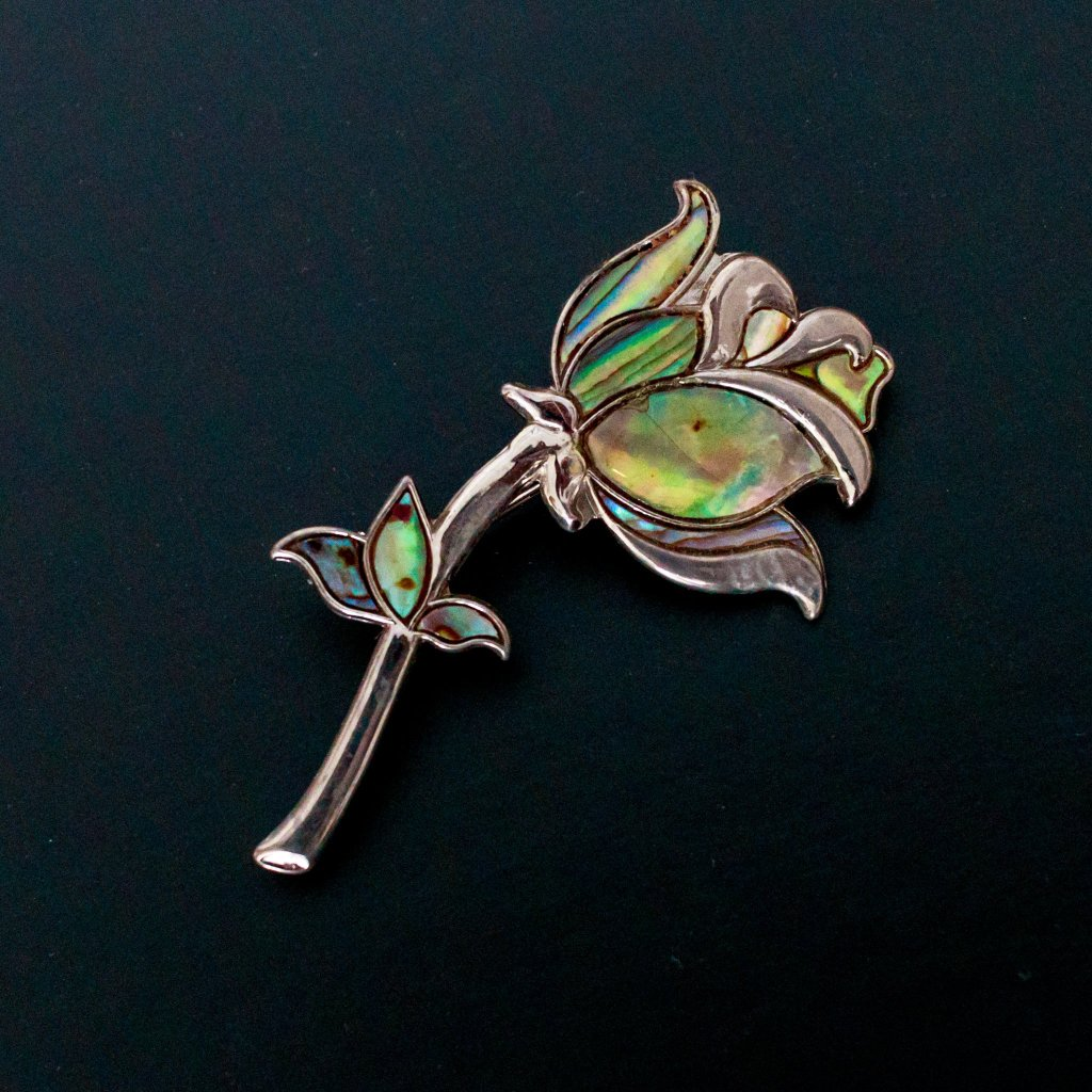Silver and Opal Brooch