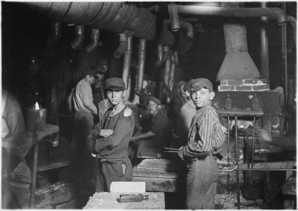 Indiana Glass Works. Midnight. Indiana. Lewis Hine (1908). Courtesy Wikimedia Commons