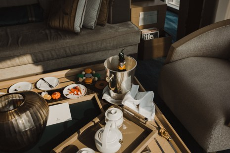 champagne bucket with a tray of tea in a shangri-la hotel room at the shard