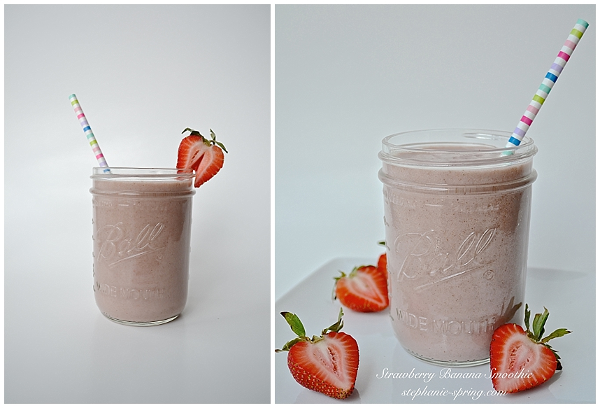 Strawberry Banana Smoothie Recipe at: stephanie-spring.com
