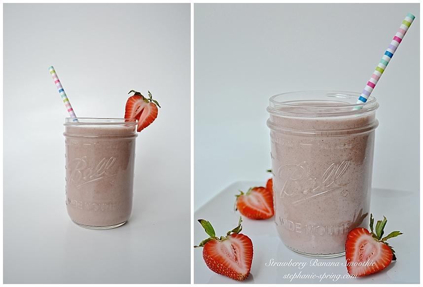 Strawberry Banana Smoothie Recipe at: stephanie-spring.com