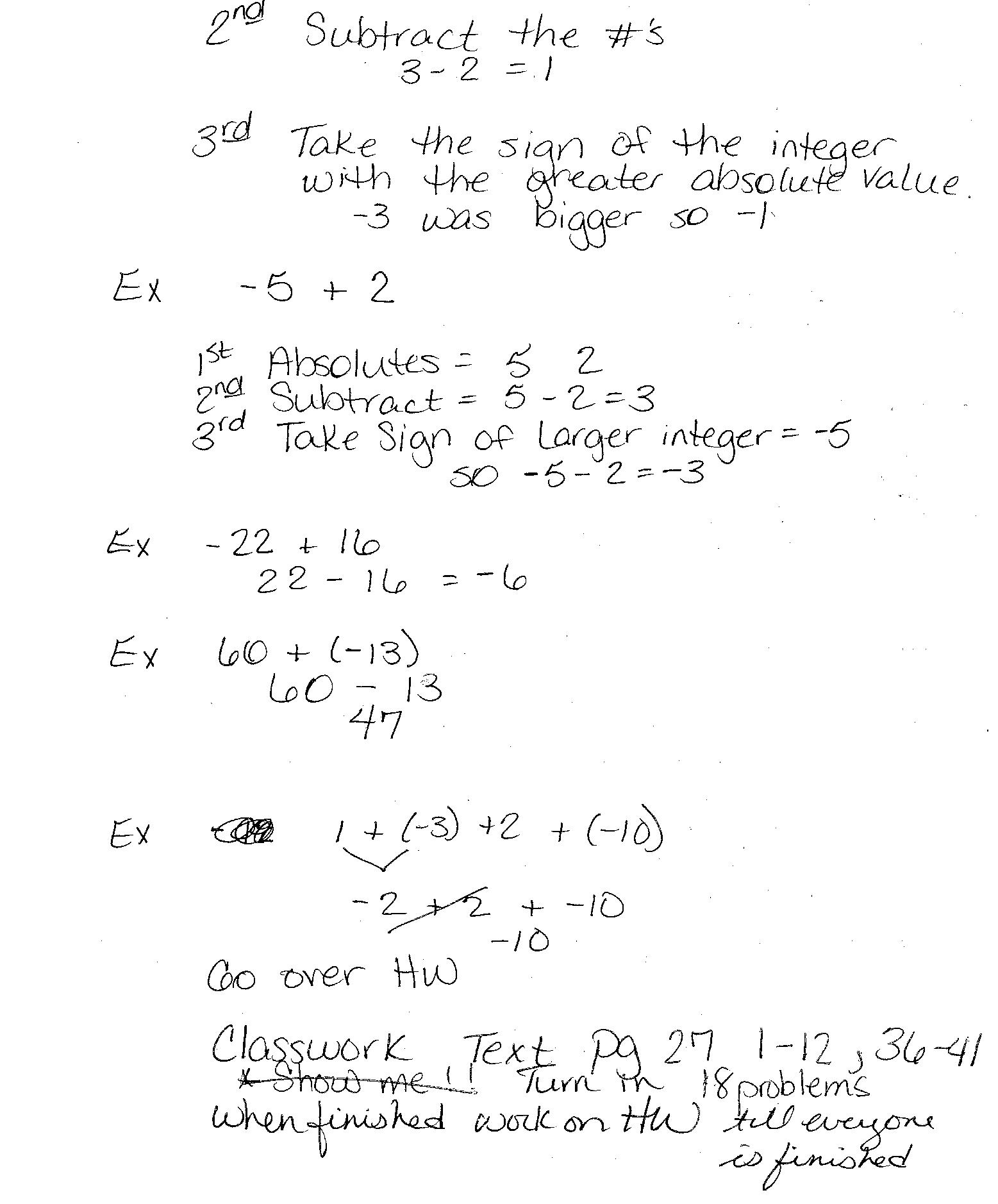 Pre Algebra Class Notes