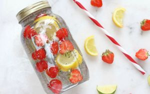 Try one of StephanieCristi's flavored water ideas. Fruit infused water will keep your water interesting and also increase your fruit and vegetable intake!