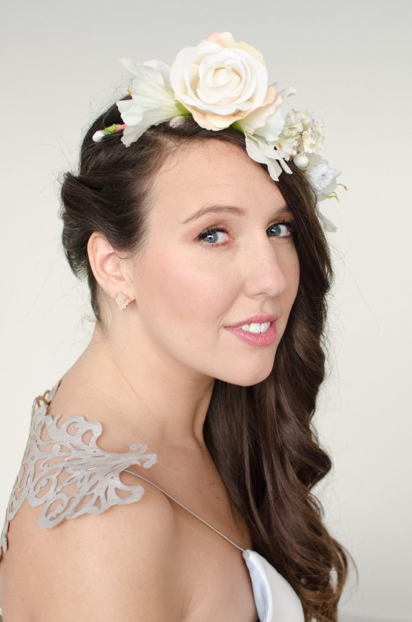 handmade bride wedding dress lauren mccormick ottawa bridal boutique floral crown