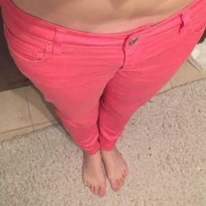 365 days of happy project - day 96 - stephanie de montigny - pink coral pants children's size loosing weight success story woman 20s