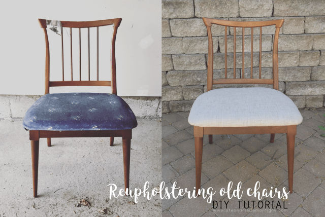 Reupholstering Vintage Kitchen Chairs DIY Project Stephanie de