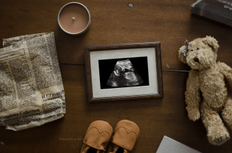 pregnancy announcement layflat vintage teddy ultrasound baby shoes wingtips old newspaper