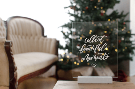 acrylic sign dear north designs christmas tree cream vintage settee moments white stand