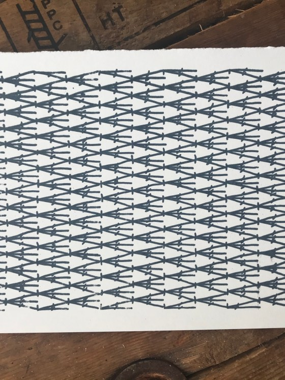 Double crochet 3 together screenprint