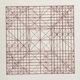 Decussate - screenprint by Stephanie Gaumond. A linear and minimal four layer red screenprint.