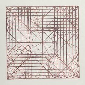 Decussate - screenprint by Stephanie Gaumond. A linear and minimal four layer red screenprint.