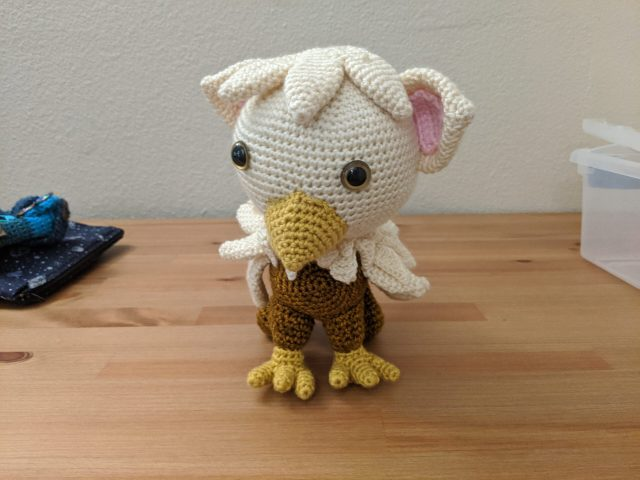 A crochet griffin