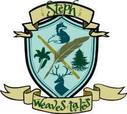 A crest with a fox, a lily, an evergreen tree, and a hart reads Steph Weaves Tales