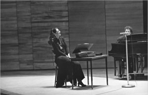 Maria Callas and the pianist Eugene Kohn at a session of her legendary master classes at the Juilliard School in New York in March 1972.