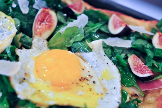 Three Minute Eggs over Arugula, Pesto Pizza