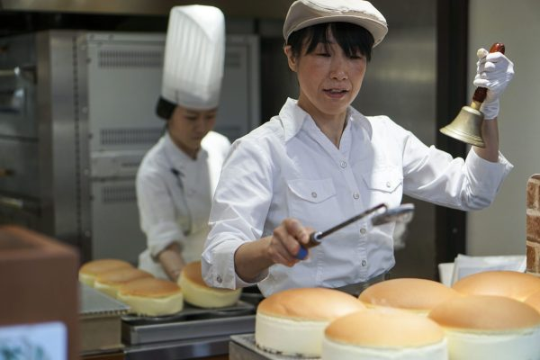 Uncle Rikuro's Cheesecake, Osaka, Japan (They ring a bell when they're fresh out of the oven)