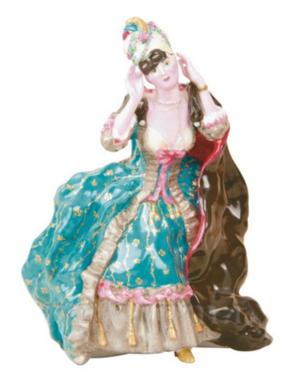 Porcelain figurine Lady with a mask