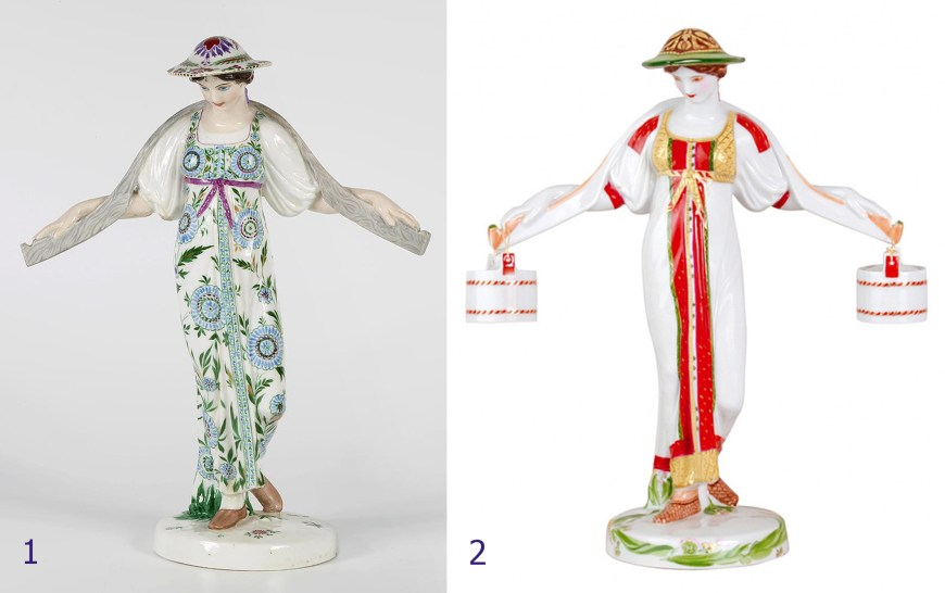 Porcelain figurine. Girl with a yoke, original and replica
