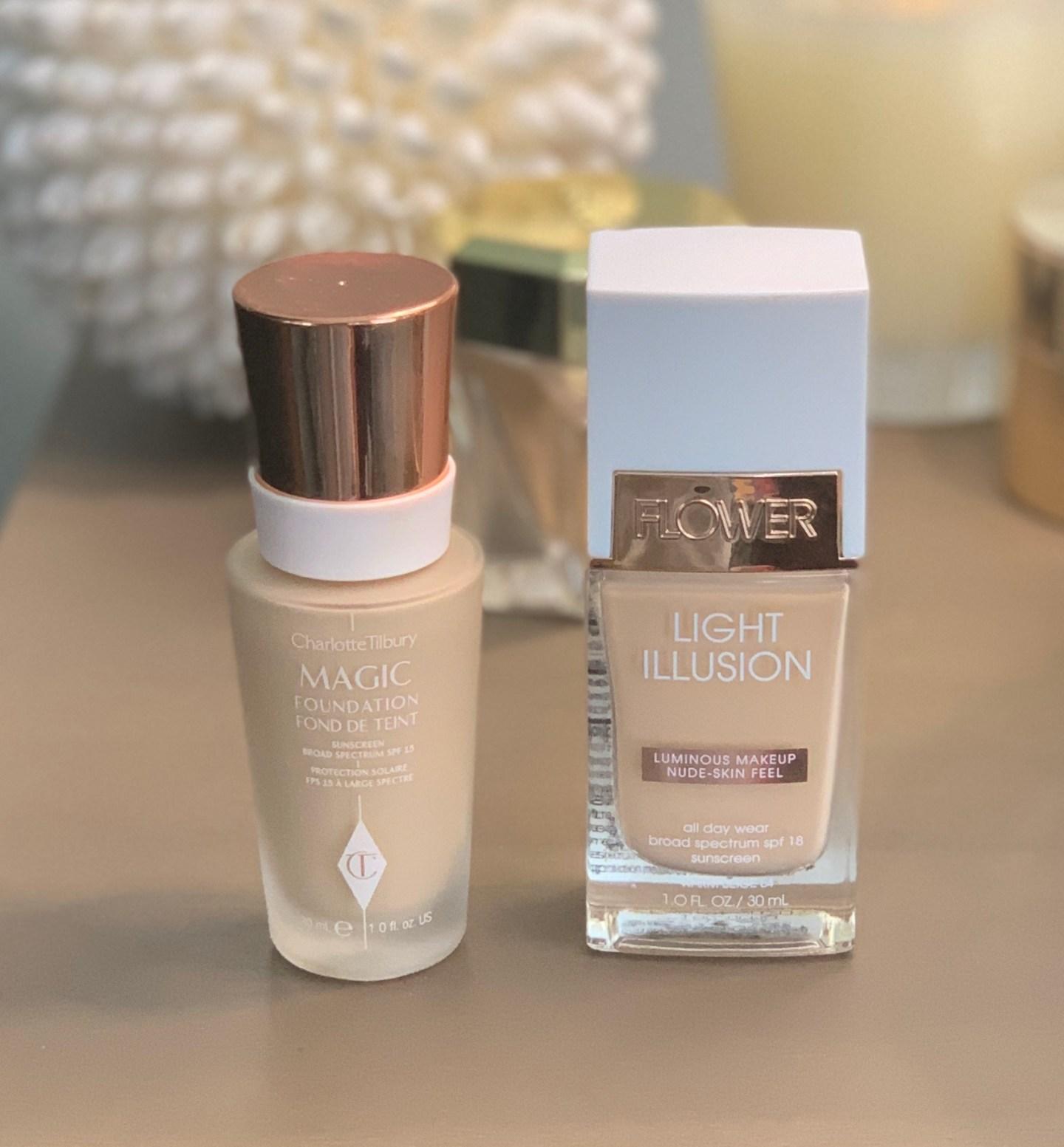 Charlotte Tilbury Magic Foundation vs Flower Beauty Light Illusion Drugstore Makeup Dupes