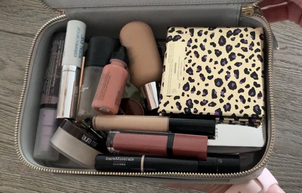 packing a travel makeup bag truffle clarity jumbo jetset case dove gray