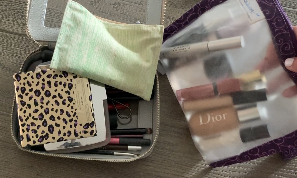 packing a travel makeup bag truffle clarity jetset case dove gray