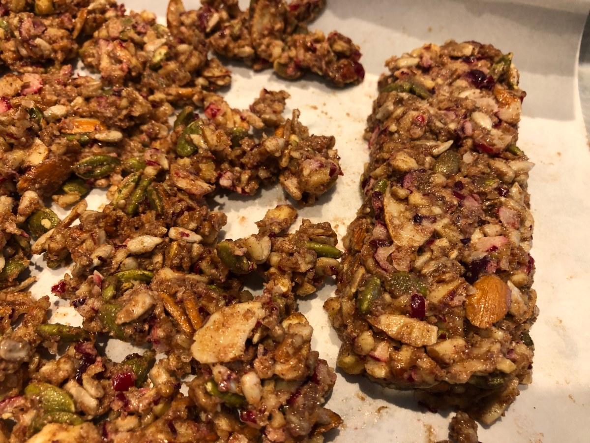 granola bar on cookie sheet