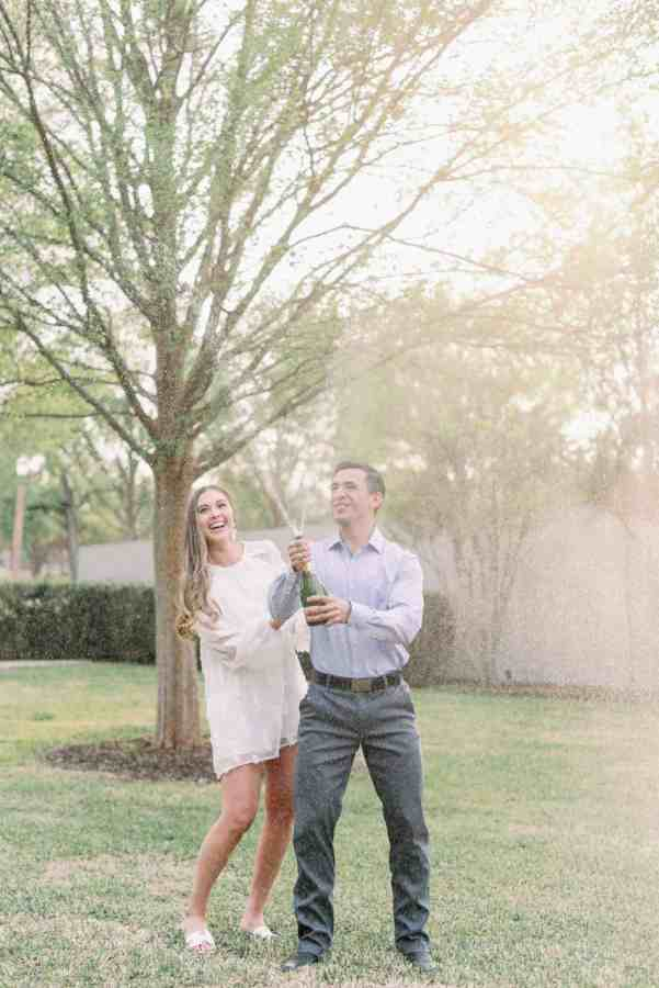 champagne pop engagement session