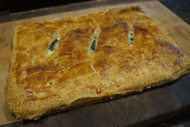 Pie on wooden board