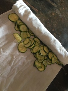 Zucchini rolled up dish towel