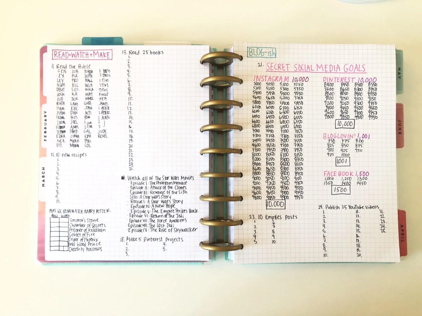 tracking a 101 in 1001 list in a happy planner
