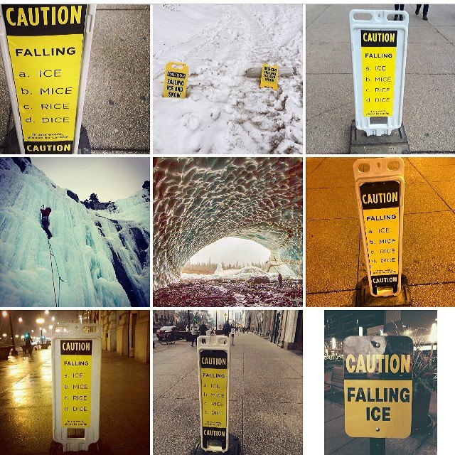 screenshot of people's posts of the falling ice sign on instagram