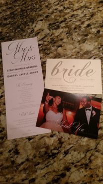 Wedding print samples of wedding program, bridal shower invitations, and thank-you cards