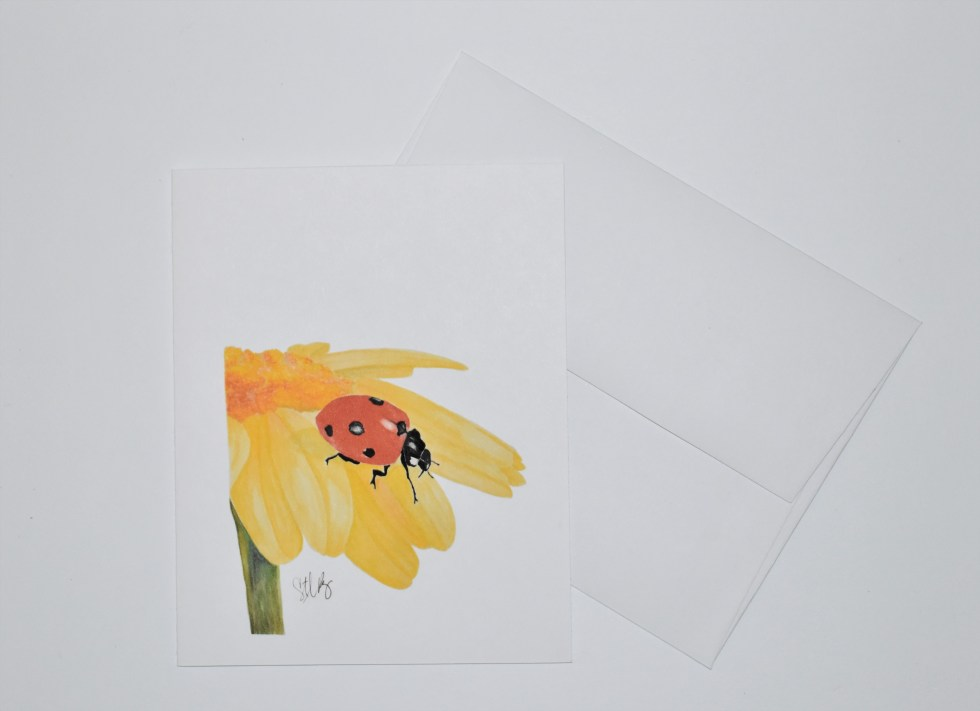 Lady Bug and Flower Note Card