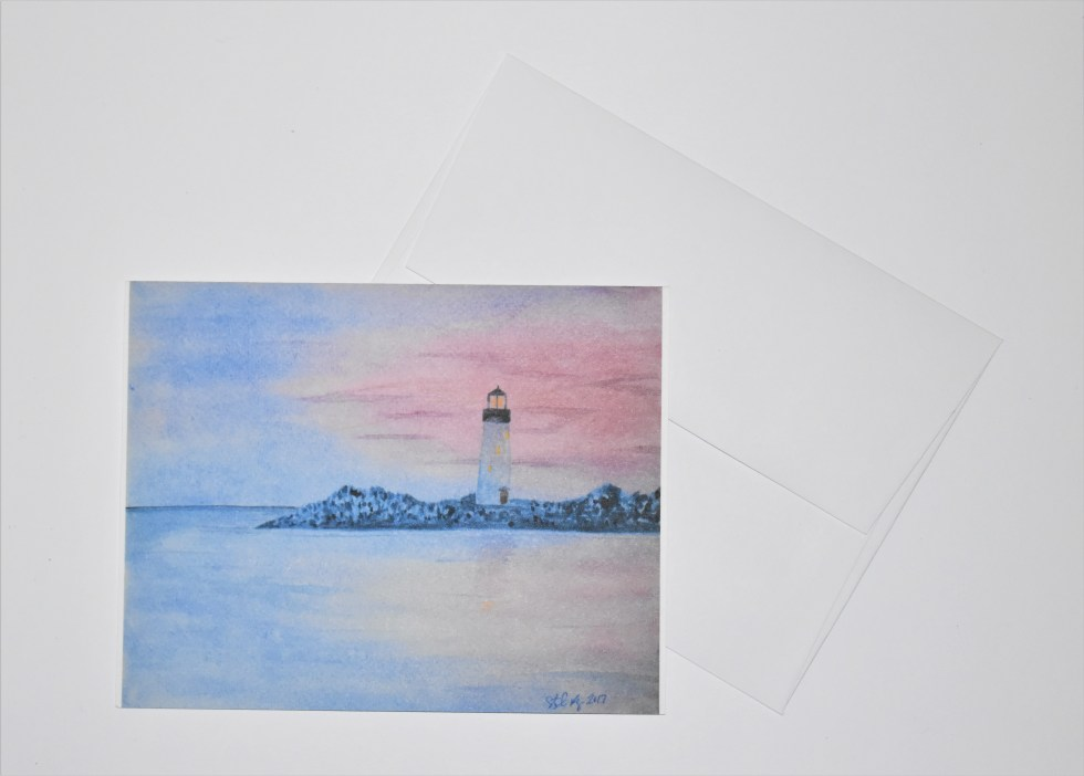 Sunset Lighthouse Note Card