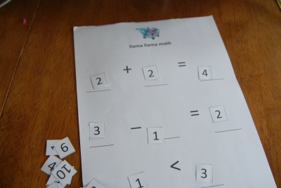 llama llama mad at mama Math Sheets