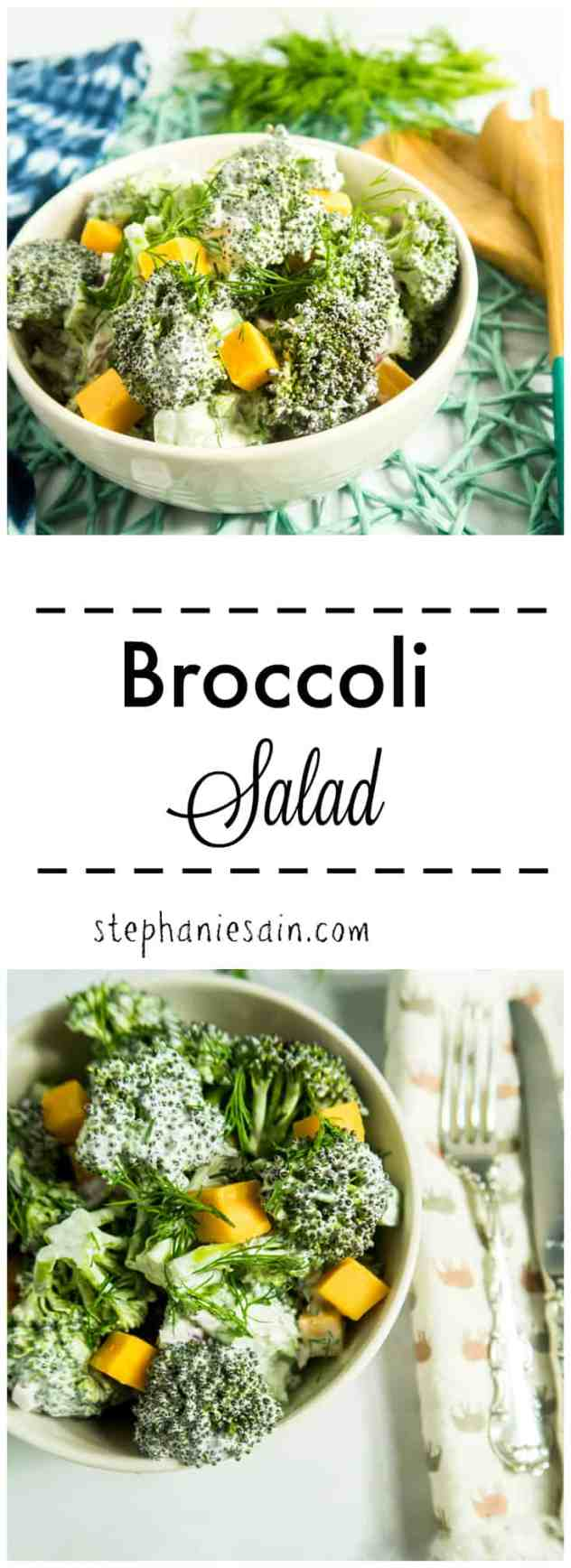 Broccoli Salad is the perfect make ahead salad. Great for cookouts, family gatherings or even goes great as a side for dinner. Vegetarian and Gluten Free.