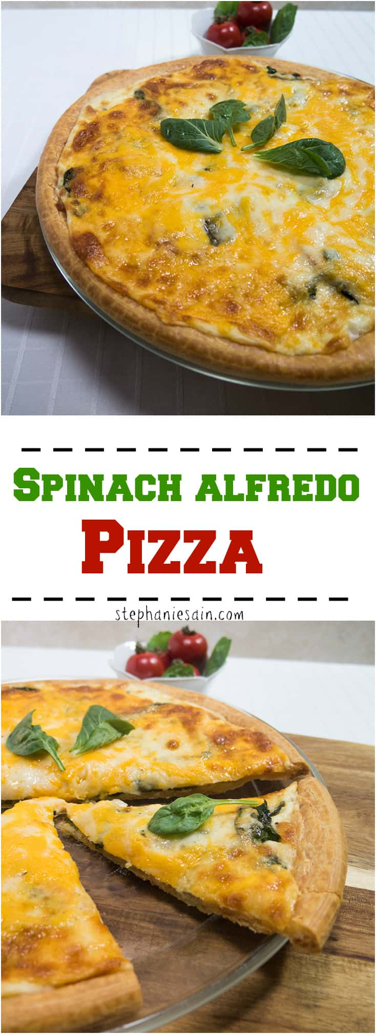 Spinach Alfredo Pizza is a tasty pizza topped with a creamy sauce, spinach, tomatoes and cheese. Vegetarian and Gluten Free.