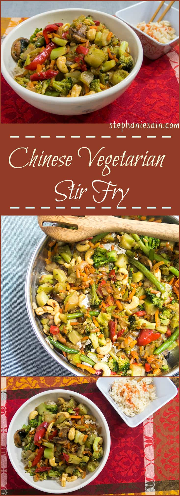 Chinese Vegetarian Stir Fry is a quick, tasty, healthy dinner perfect for any night of the week. Better than takeout. Vegetarian, Vegan, and Gluten Free.