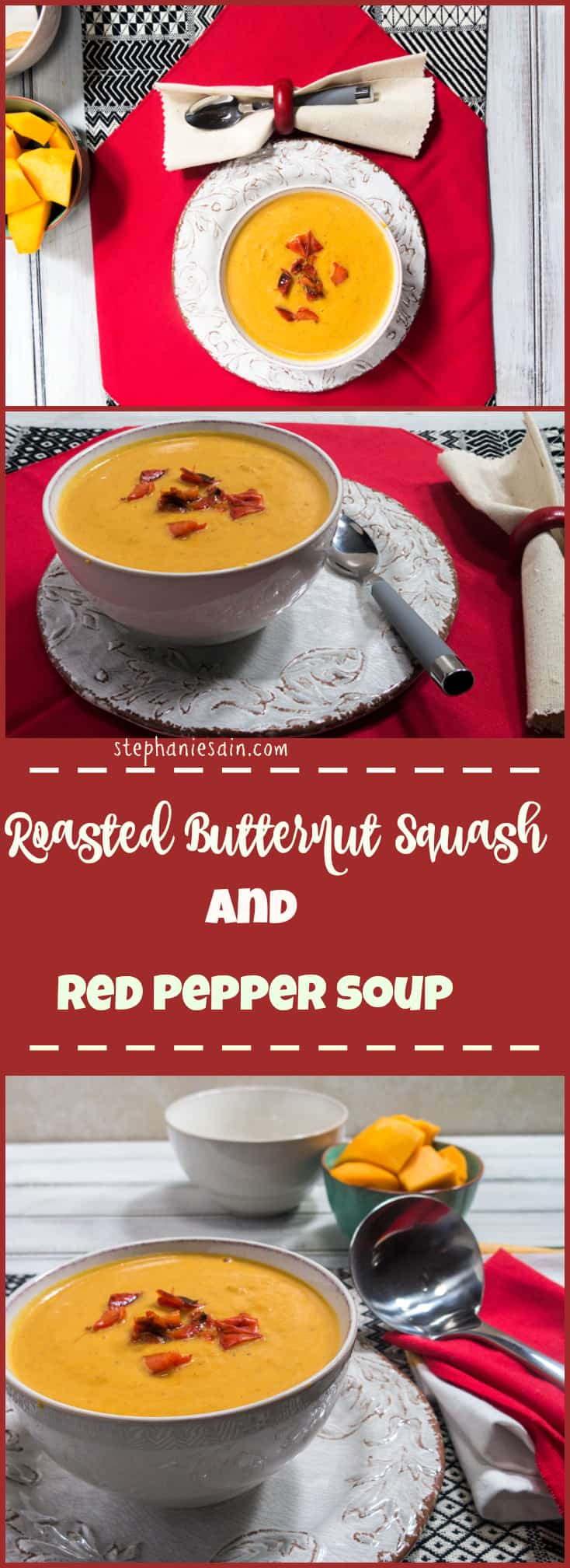 Roasted Butternut Squash & Red Pepper Soup is a creamy flavorful soup that is perfect for lunch or dinner anytime. Vegetarian and Gluten Free.