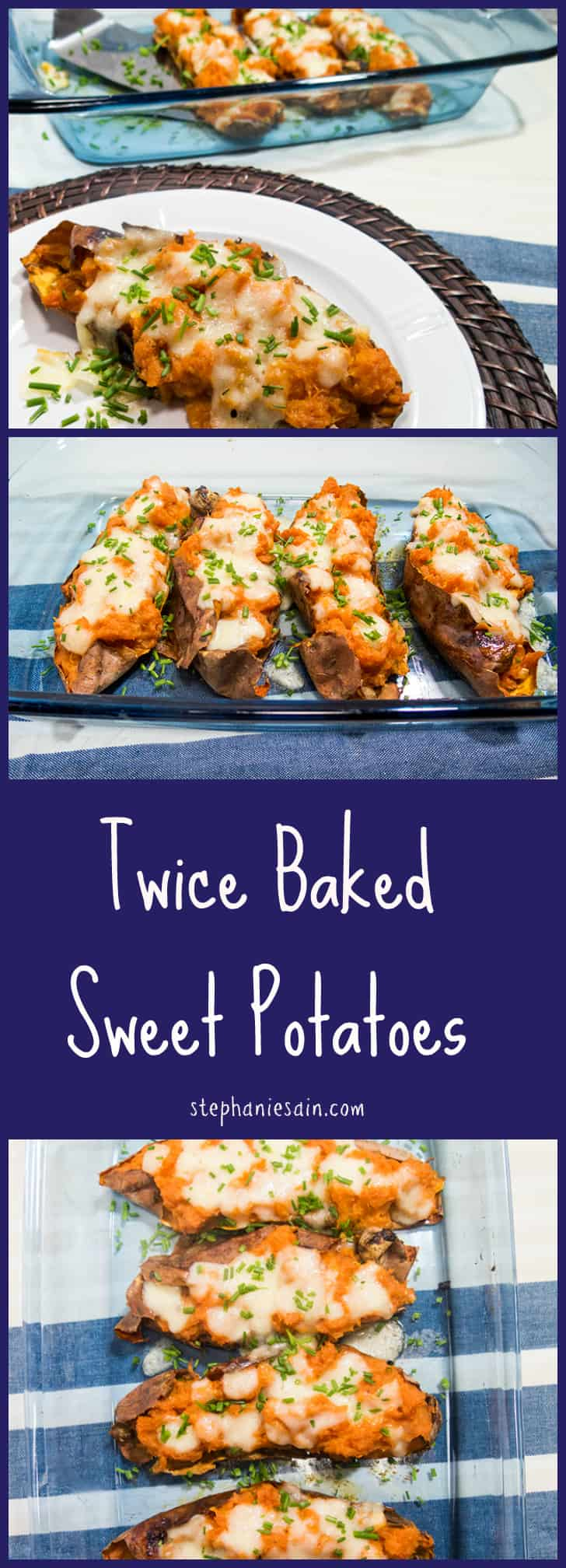Twice Baked Sweet Potatoes are a healthy, tasty option that are great with almost anything. Vegetarian and Gluten Free.