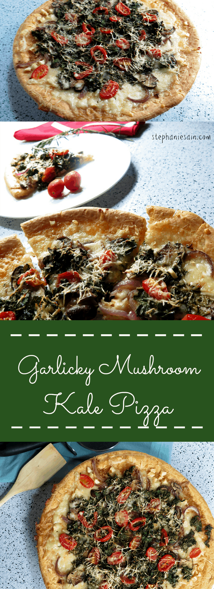 Garlicky Mushroom Kale Pizza is a great way to eat Kale. It's a healthier pizza prepared on a gluten free crust.(vegetarian)