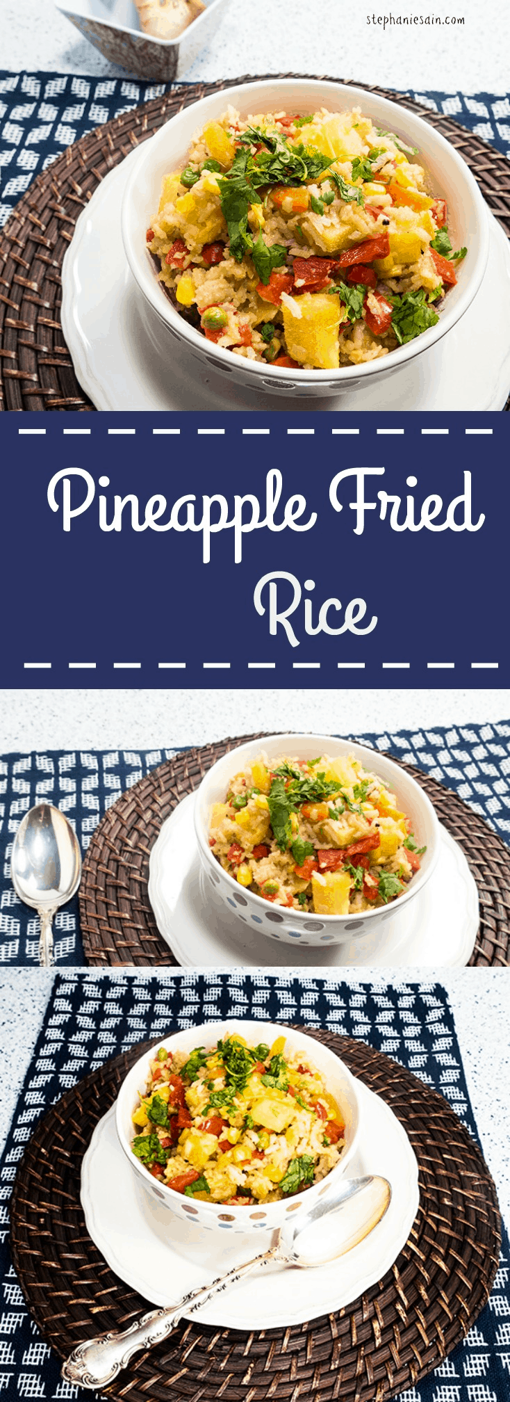 Pineapple Fried Rice is a healthy version of take out fried rice that is vegetarian and gluten free