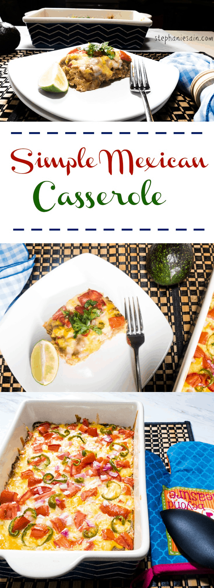 Simple Mexican Casserole is an easy to prepare dinner that is tasty, vegetarian, and gluten free