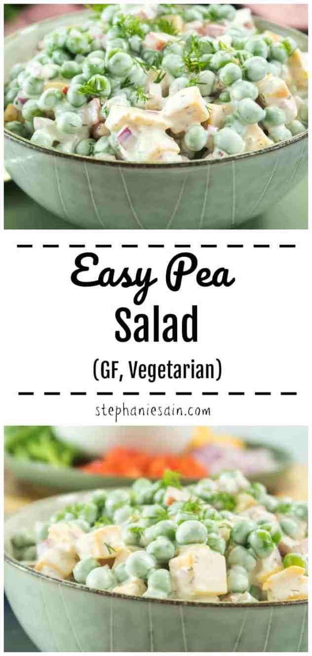 This Easy Pea Salad is super quick to make and is the perfect side to any meal. Also great served alone as a filling lunch or dinner. Loaded with vegetarian protein & is also Gluten Free. Perfect for potlucks and summer gatherings.