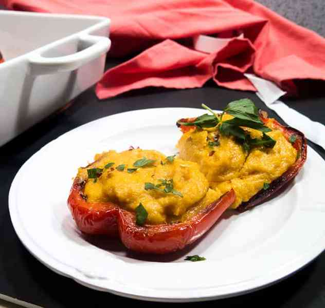 Grit Stuffed Roasted Red Peppers